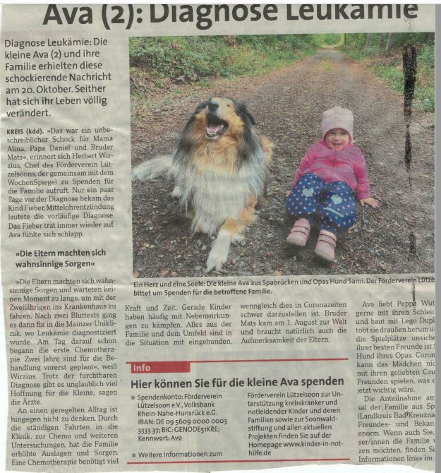 Auch der kleinen Ava möchten wir helfen